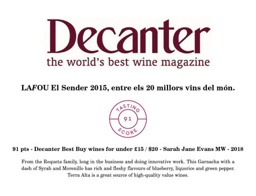 LaFou El Sender 2015 is one the world's top 20 wines according to the prestigious wine magazine Decanter